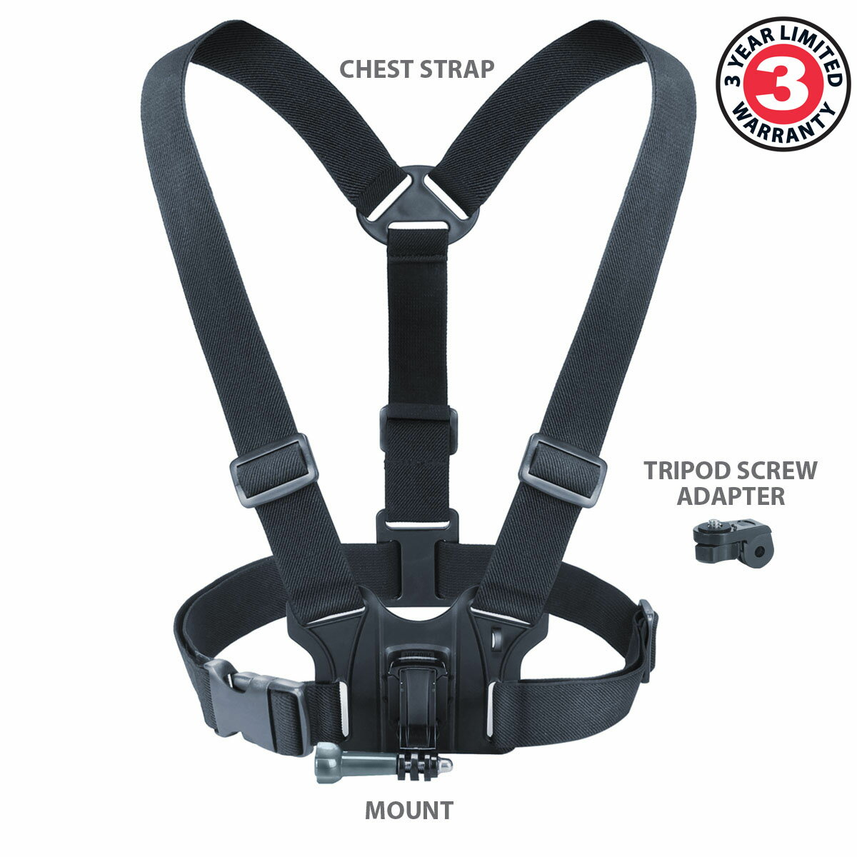 Tough Camera Chest Strap Mount with J Hook and Tripod Adapter by USA Gear - Works With Canon PowerShot D30 , Nikon Coolpix AW130 , Olympus TG-4 & More 1