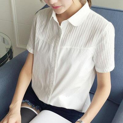 短袖襯衫 壓紋娃娃領短袖襯衫 M~XL【S-17-0029】LYNNSHOP