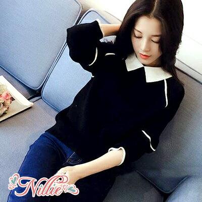 Nillie‧氣質娃娃領條紋滾邊長袖上衣10/11(黑/灰)【N98481】