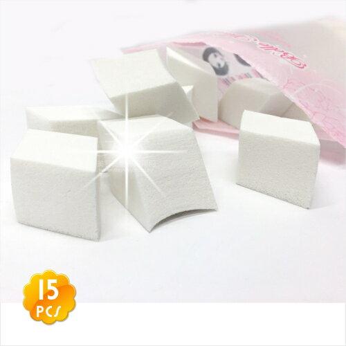 【乾濕兩用型】N419小菱形海綿粉撲/白色(15入) [46087]超好上妝.妝感服貼