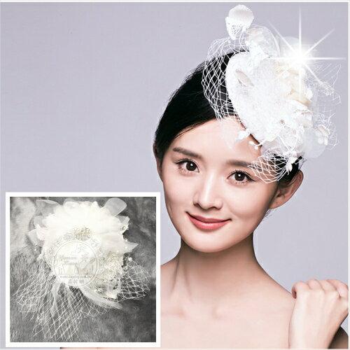 新娘婚紗喜宴頭飾髮飾羽毛鑲鑽蕾絲花小禮帽~單入  52606