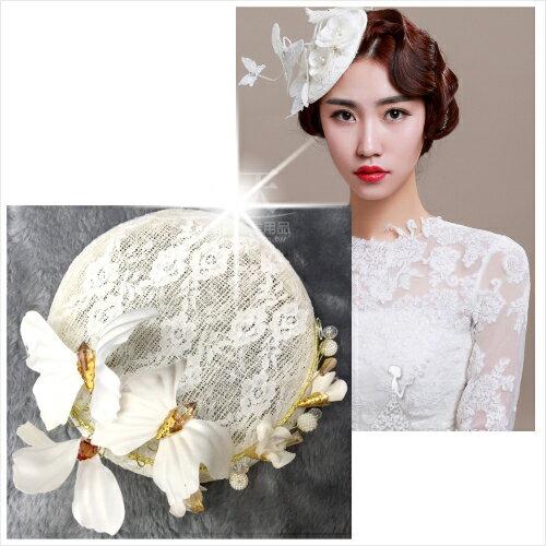 新娘婚紗喜宴頭飾髮飾白蝴蝶飛舞蕾絲珍珠琥珀小禮帽 單入   52671