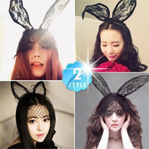 COSPLAY萬聖節舞會尾牙角色扮演蕾絲兔女郎髮箍(兩色)-單入 [53512]