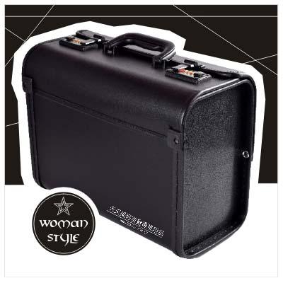 【新娘祕書.彩妝師】CL素面標準型黑色雙鎖投化妝箱.工具箱.美甲箱28x18.5x38cm(單入) [10172]