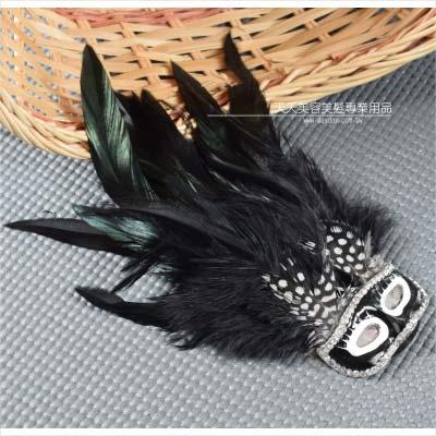 歐雅羽毛黑色面具胸針  40834  ~美容美髮美甲新秘 材料~