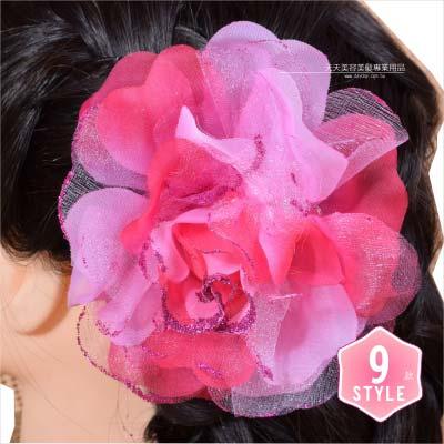 【飾品.鑽飾.舞台.新娘秘書】新娘秘書頭髮飾花單朵(髮夾+髮圈)金蔥玫瑰-9色 [46394]