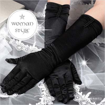 【我們結婚吧!】新娘手套(長版絲質)黑色#串珠款-一雙入 [46626]