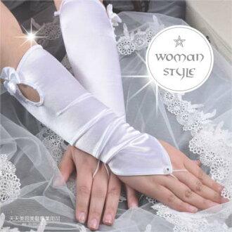 【我們結婚吧!】新娘手套(長版絲質)白色#露手指4款-一雙入 [46628]