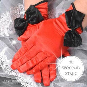 【我們結婚吧!】新娘手套(短版絲質)#雙色蝶戀2款-一雙入 [46632]