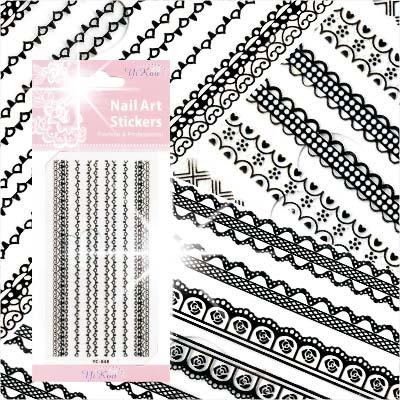 【超細膩花紋】LC系列指甲彩繪緞帶蕾絲貼紙模-黑蕾絲(不挑款) [48322]