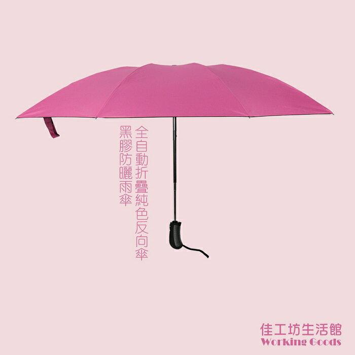 全自動折疊黑膠抗UV晴雨反向傘