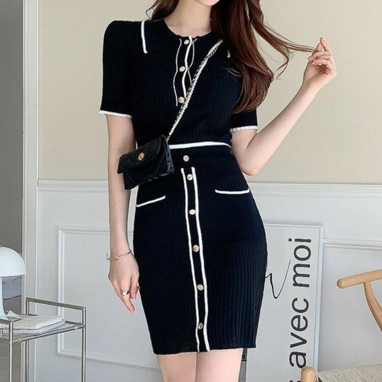 全店一件免運✦兩件套2021夏裝新款韓版氣質修身針織上衣時尚包臀裙套裝女✦女裝