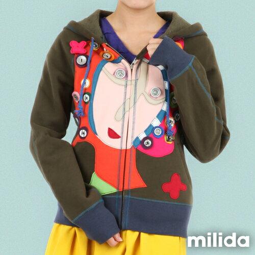 【Milida,全店七折免運】-秋冬單品-外套款-拼貼連帽外套 2