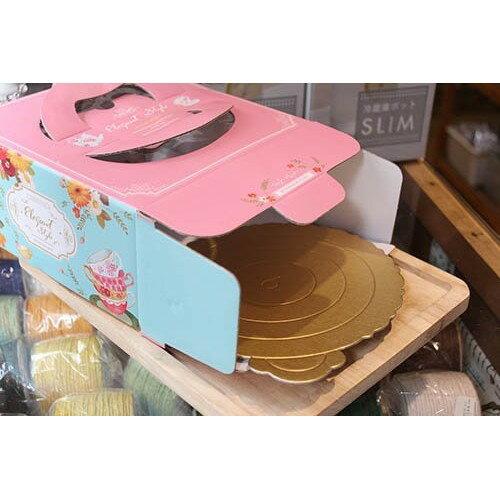 【嚴選SHOP】午後饗宴  (附金盤) 瓦楞紙手提6吋派盒 蛋糕盒 手提盒 紙盒 包裝盒 起司蛋糕 乳酪盒【C032】