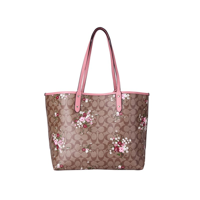 (Smile) COACH F29547 女士卡其印花配粉色PVC手提單肩雙面托特包