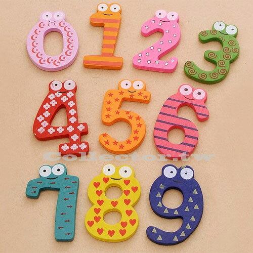 【Q14112901】兒童早教玩具-創意木質數字磁貼 磁鐵 冰箱貼 10個裝
