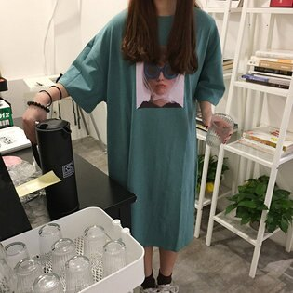 短袖洋裝圖騰印花T裙寬鬆開衩長版衫短袖連身裙【MYYL316】BOBI0621