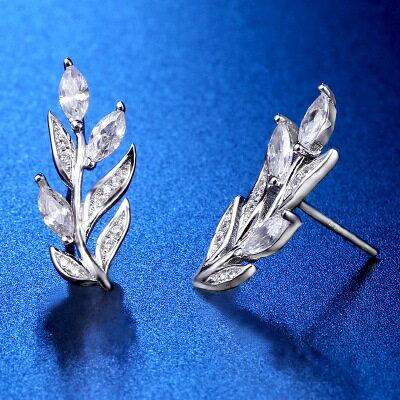 ~925純銀耳環鑲鑽耳飾~精緻華麗樹葉 情人節生日 女飾品73hk53~ ~~米蘭 ~