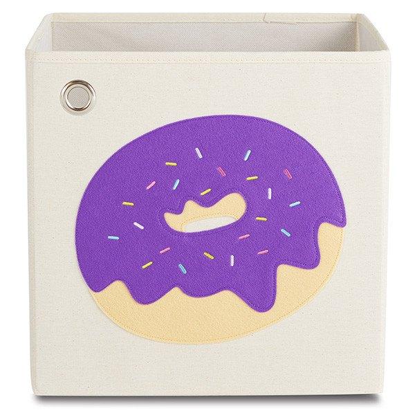 美國【KAIKAI&ASH】甜點系列收納箱-葡萄繽紛甜甜圈摺疊收納箱玩具收納箱整理箱設計風棉麻不織布