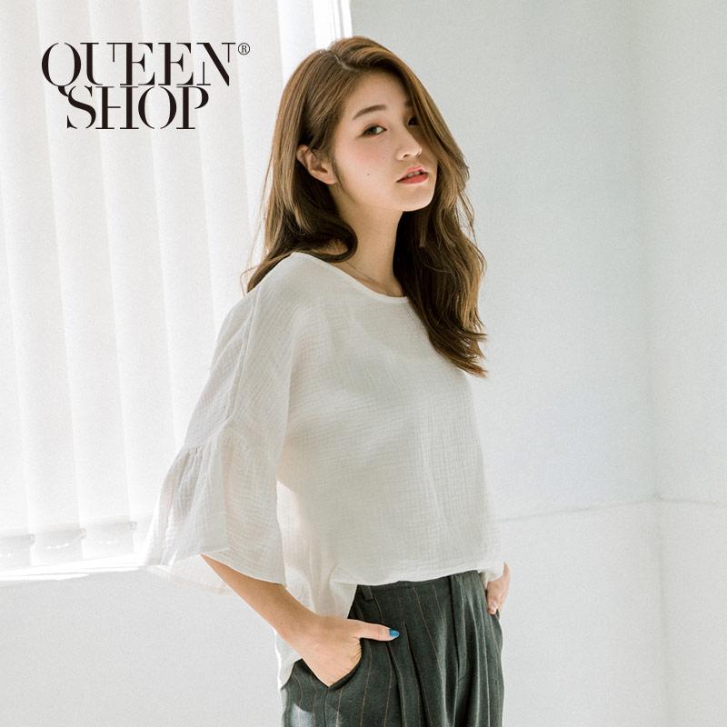 Queen Shop【01120072】簡約喇叭袖口圓領棉麻上衣*預購*