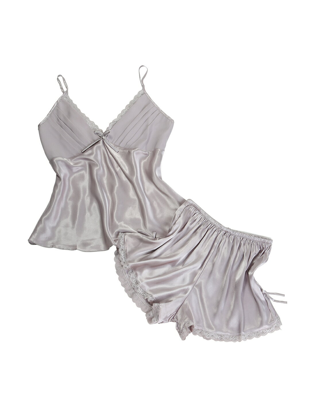 121be778e84e Unique Bargains Women s Silk Satin Lace Sexy Camisole Shorts Pajama  Sleepwear Sets Silver Gray (Size