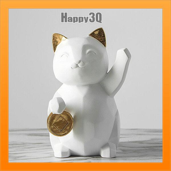 發財貓小家居北歐幾何招財貓擺件客廳裝飾店鋪北歐幾何招財貓樹脂擺件【AAA4993】