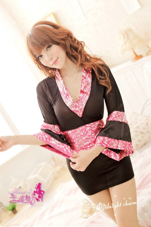 新款紅黑色質感大蝴蝶結日式和服短裙遊戲制服角色扮演服飾 h78