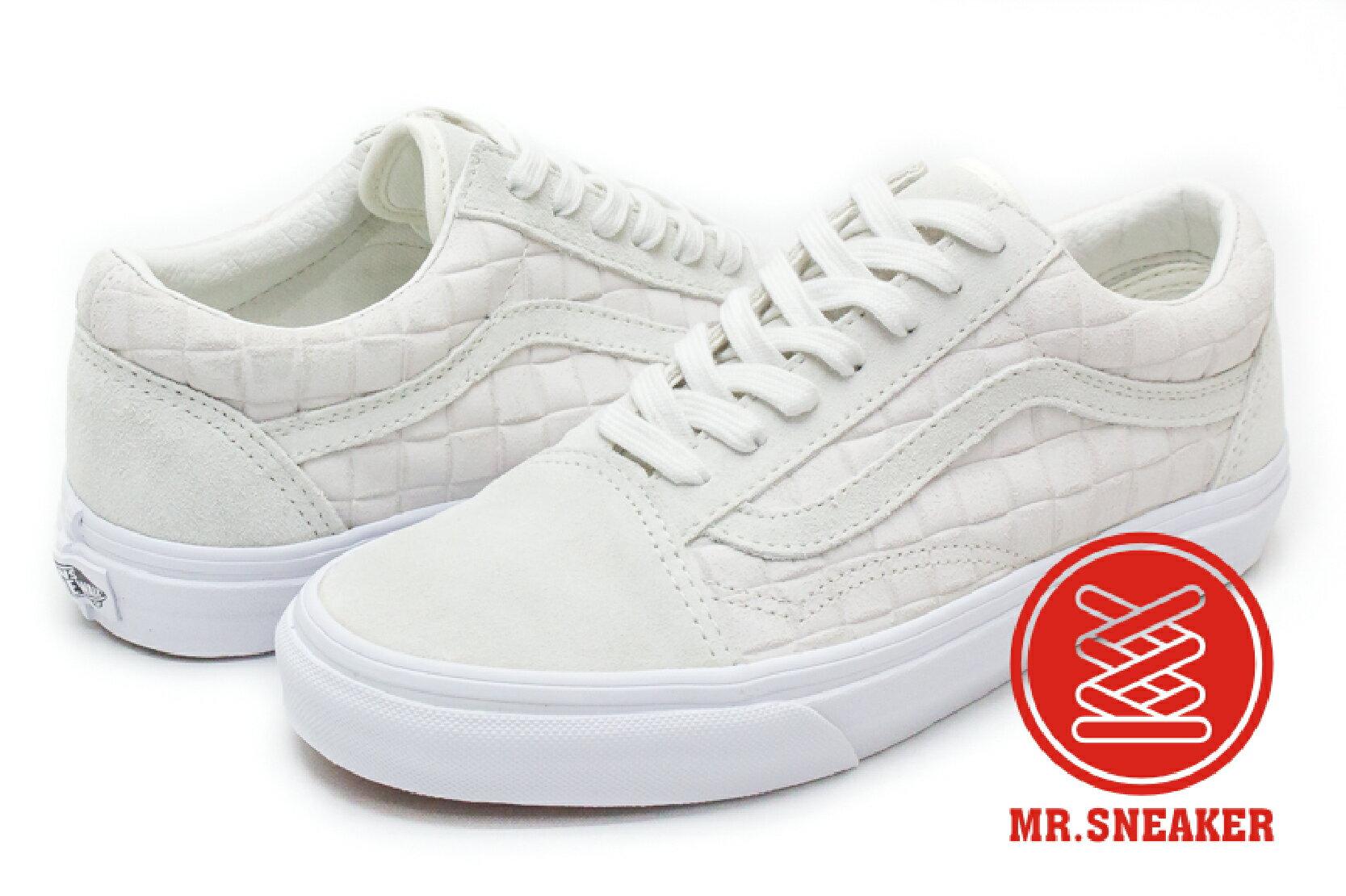 ☆Mr.Sneaker☆ VANS Old Skool Suede Checkers 麂皮 棋盤 壓紋 米白 男女款
