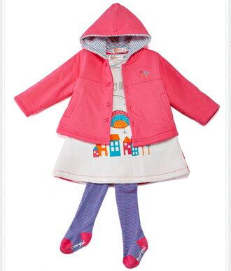 ☆Babybol☆可愛針織保暖套裝 外套 背心裙 上衣 褲襪四件式套裝【24125】 2