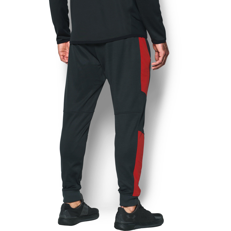 《UA出清5折》Shoestw【1299171-016】UNDER ARMOUR UA服飾 長褲 縮口褲 保暖 內刷毛 黑紅 男生 1
