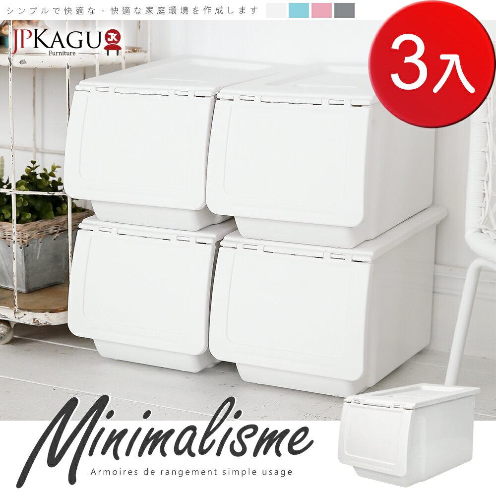 JP Kagu 日系可堆疊直取收納箱 / 收納櫃26L(3入) │  單筆訂單滿6入【贈水轉印托盤1入】(顏色隨機) 2