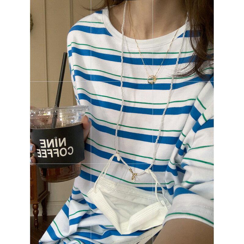 條紋短袖T恤女2021夏韓版寬鬆顯瘦圓領大版慵懶風上衣