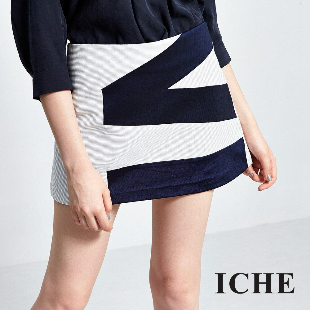 ICHE 衣哲簡約色塊拼接造型短裙