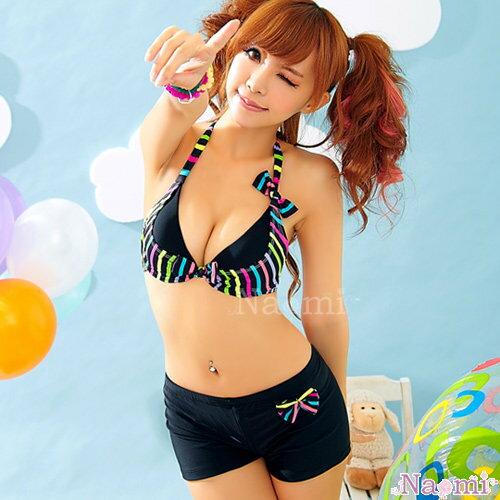 派對女孩!艷彩條紋二件式泳裝組NA13070026 ☆艾莉莎ELS☆ 免運
