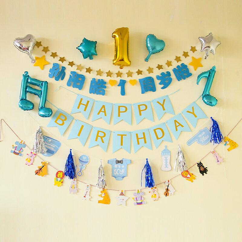 裝飾氣球 生日快樂派對寶寶女孩男生場景布置背景墻氣球兒童周歲裝飾品套餐【MJ10584】
