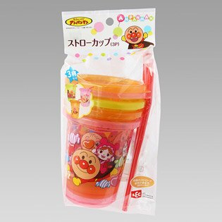 【真愛日本】15101000012 環保杯附吸管-麵包超人細菌3入 Anpanman麵包超人 水壺 吸管杯 兒童用品