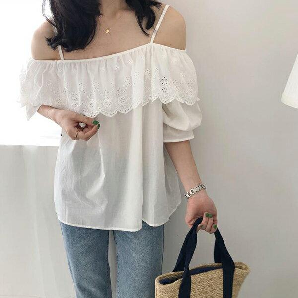 PS Mall 韓版甜美淑女一字荷葉領純色露肩長袖襯衫【T593】 0