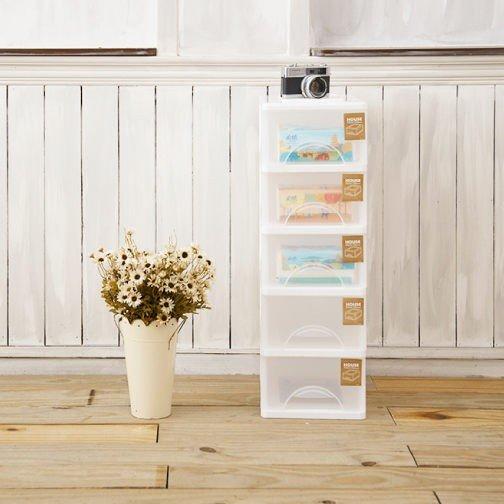 [tidy house]免運費 小純白五格抽屜櫃/收納箱/收納袋//抽屜櫃/塑膠櫃 TWSW05