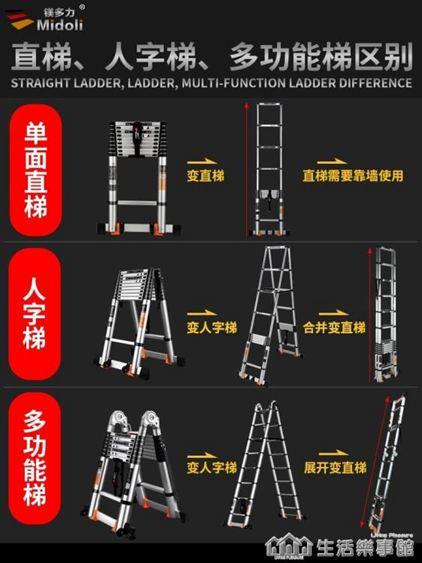伸縮梯子人字梯鋁合金加厚工程摺疊梯 家用多 升降樓梯 樂事館NMS