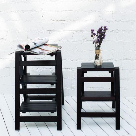 梯子家用摺疊樓梯椅 全實木梯子椅子多 兩用步階梯凳梯子凳子木梯FA