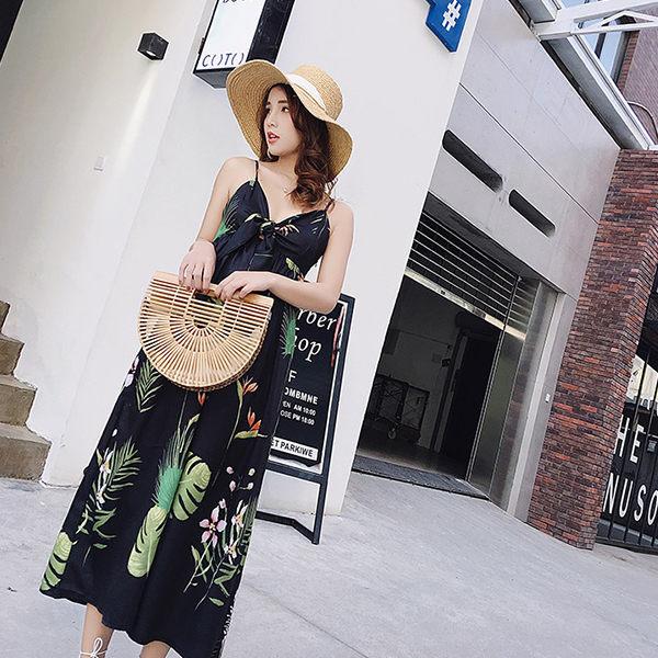 PSMall度假必備波西米亞巴厘島沙灘裙吊帶連身裙洋裝【T334】