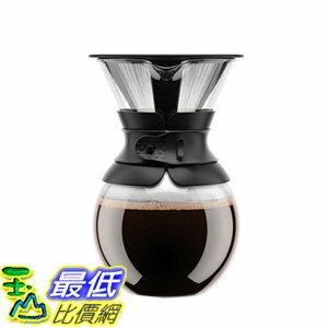 [106 美國直購] Bodum 11571-01US 咖啡手沖壺 Pour Over Coffee Maker with Permanent Filter, 34 oz, Black