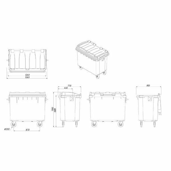【運費請先詢問】韓國製造 660公升垃圾子母車 660L 大型垃圾桶 大樓回收桶 公共垃圾桶 公共清潔 四輪垃圾桶 清潔車 資源回收桶
