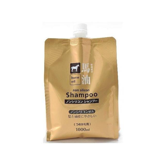 日本品牌【熊野油脂】馬油無矽洗髮精補充包(1000ml)