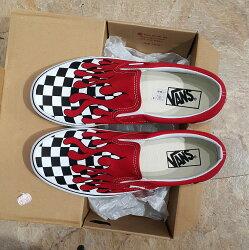 VANS Slip On Checkerboard Flame 火焰 棋盤格 懶人鞋 紅色 紅白 帆布鞋 板鞋
