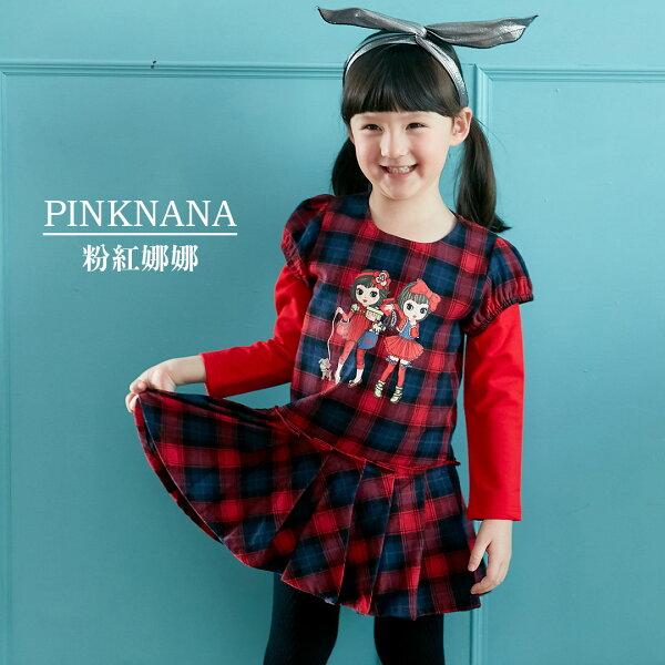 Pink Nana:PINKNANA童裝-小童格紋棉質洋裝S35518