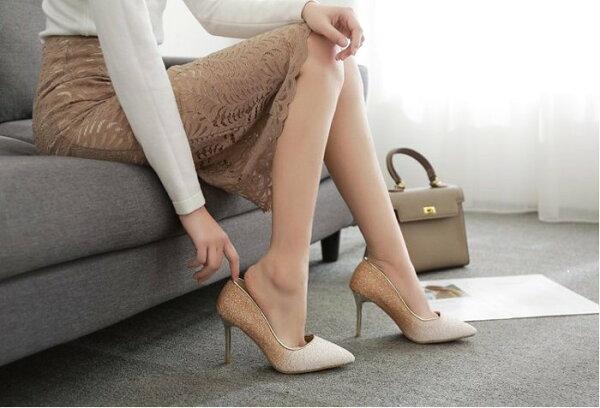 Pyf♥韓版人氣款奢華亮片夢幻漸層變色細跟尖頭高跟鞋婚鞋伴娘宴會鞋43大尺碼女鞋