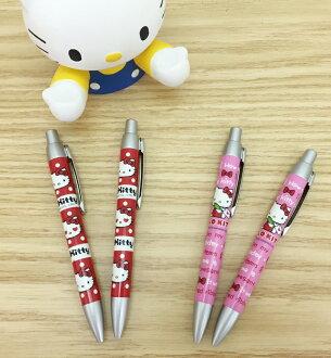 【真爱日本】15100900024 2入亮银自动原子笔-两款 凯蒂猫 KITTY 三丽鸥 文具用品 笔 书写
