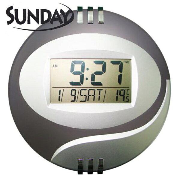 小玩子SUNDAYLCD液晶萬年曆電子鐘時間貪睡計時掛式座式SV-2010