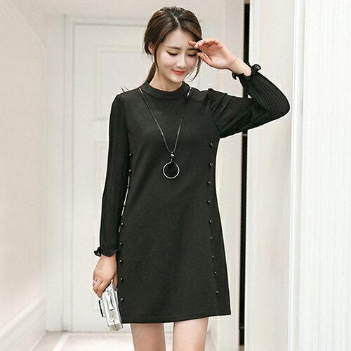 釘珠拼接雪紡壓褶袖連身裙(2色L~5XL) 【OREAD】 0